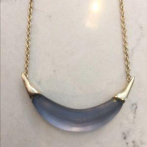 Alexis Bittar blue crescent lucite necklace